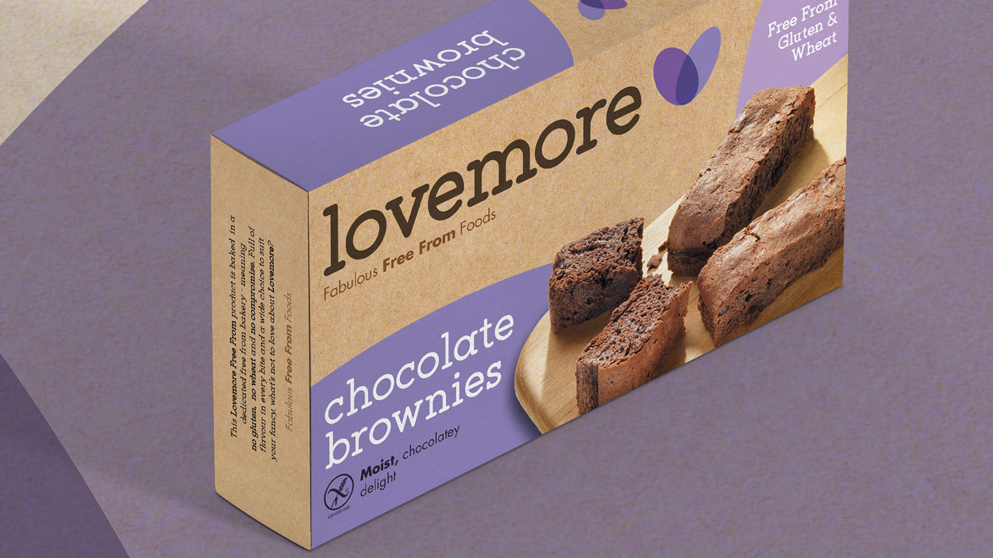 Single shot of Lovemore chocolate brownies packaging