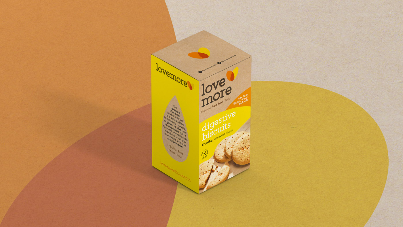 Single shot of Lovemore digestive biscuit packaging