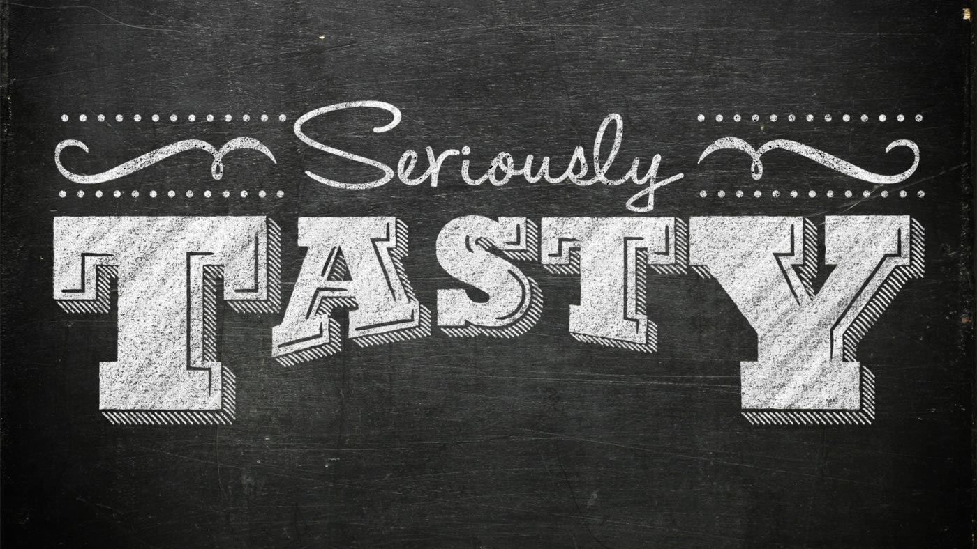 Seriously Tasty logo on chalkboard background
