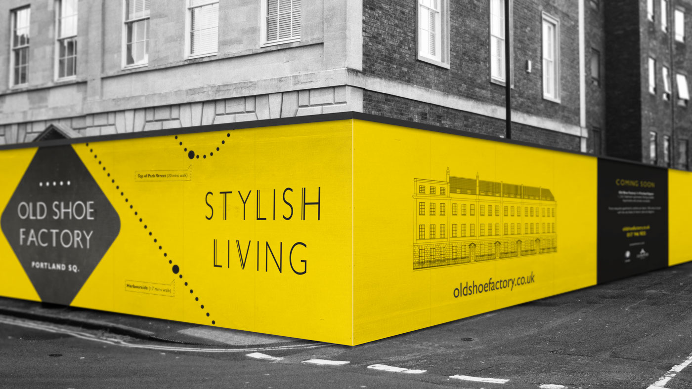 Old Shoe Factory construction hoarding design