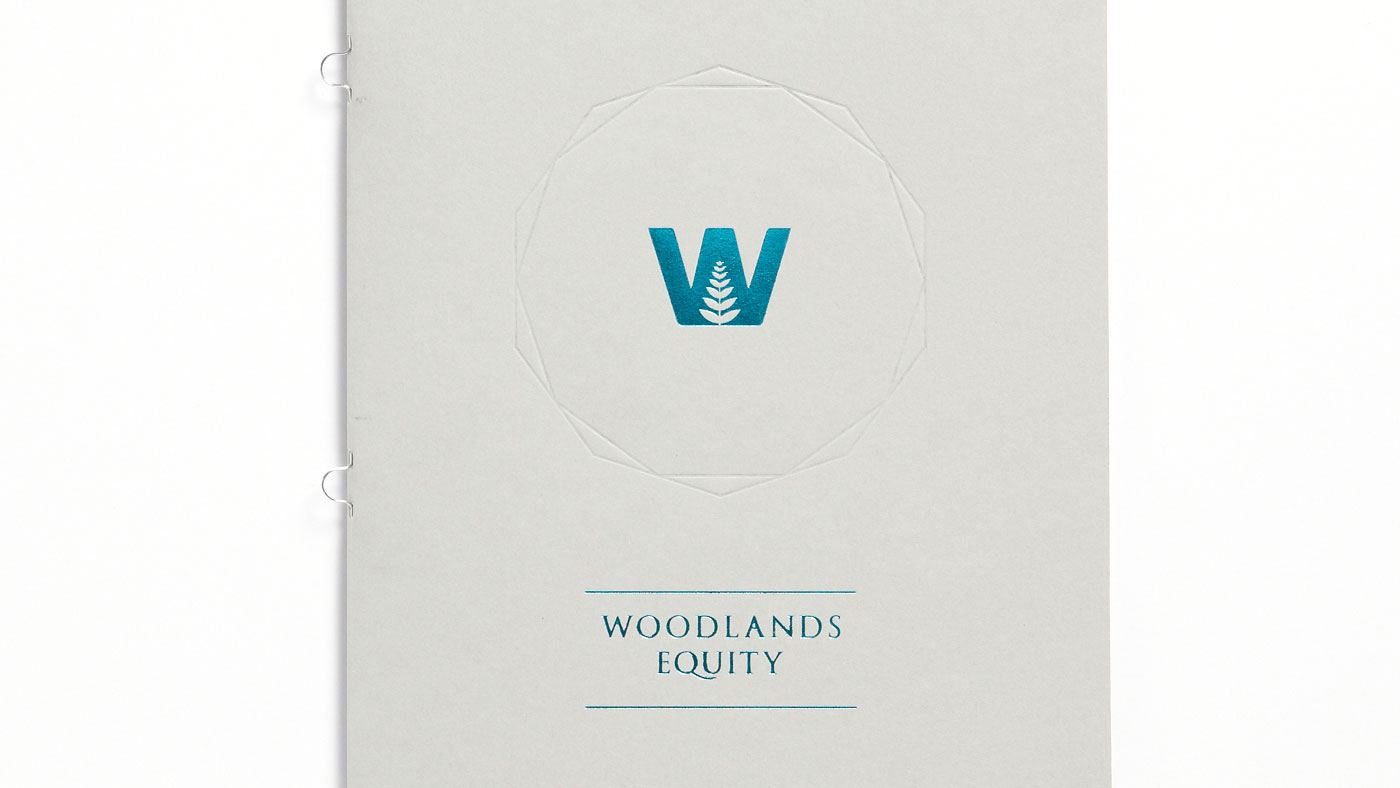 Photograph of Woodlands Equity brochure with foil block detailing