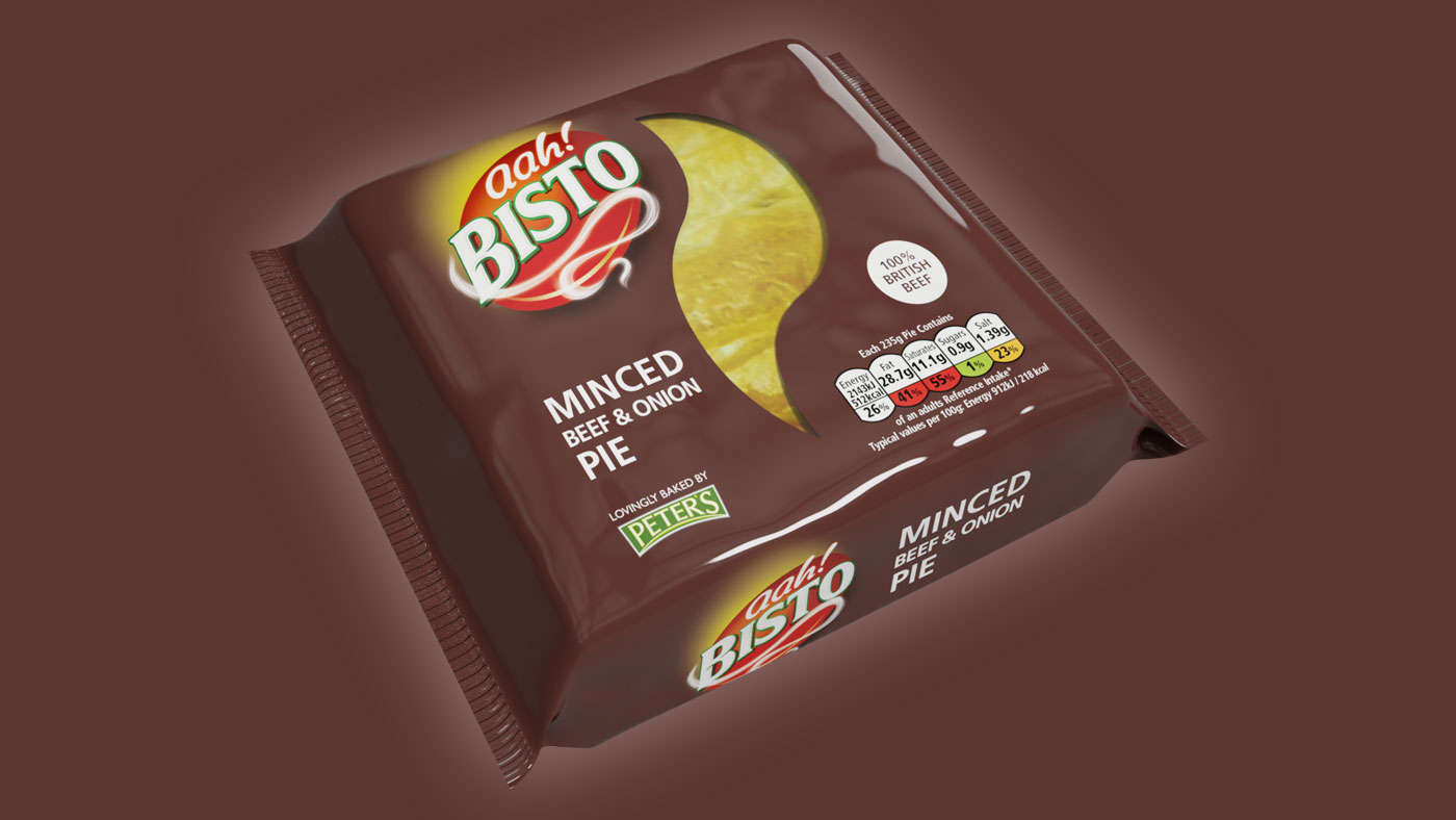 Bisto Minced Beef and Onion Pie packaging design