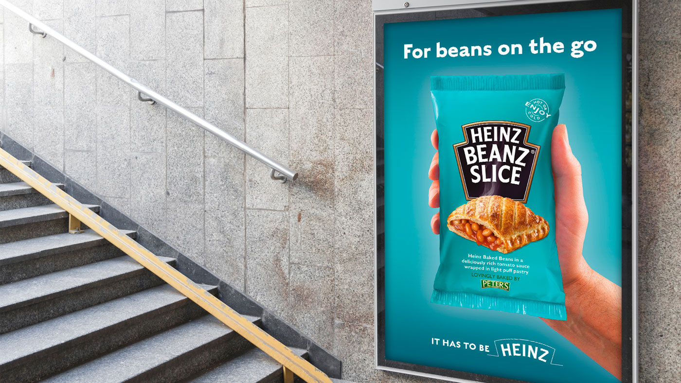 Heinz creative on ad stand at train station
