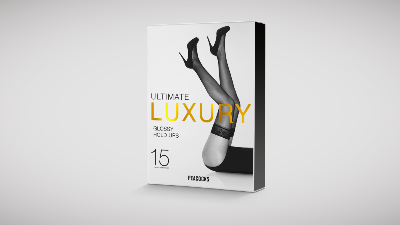 Peackocks luxury tights packaging design