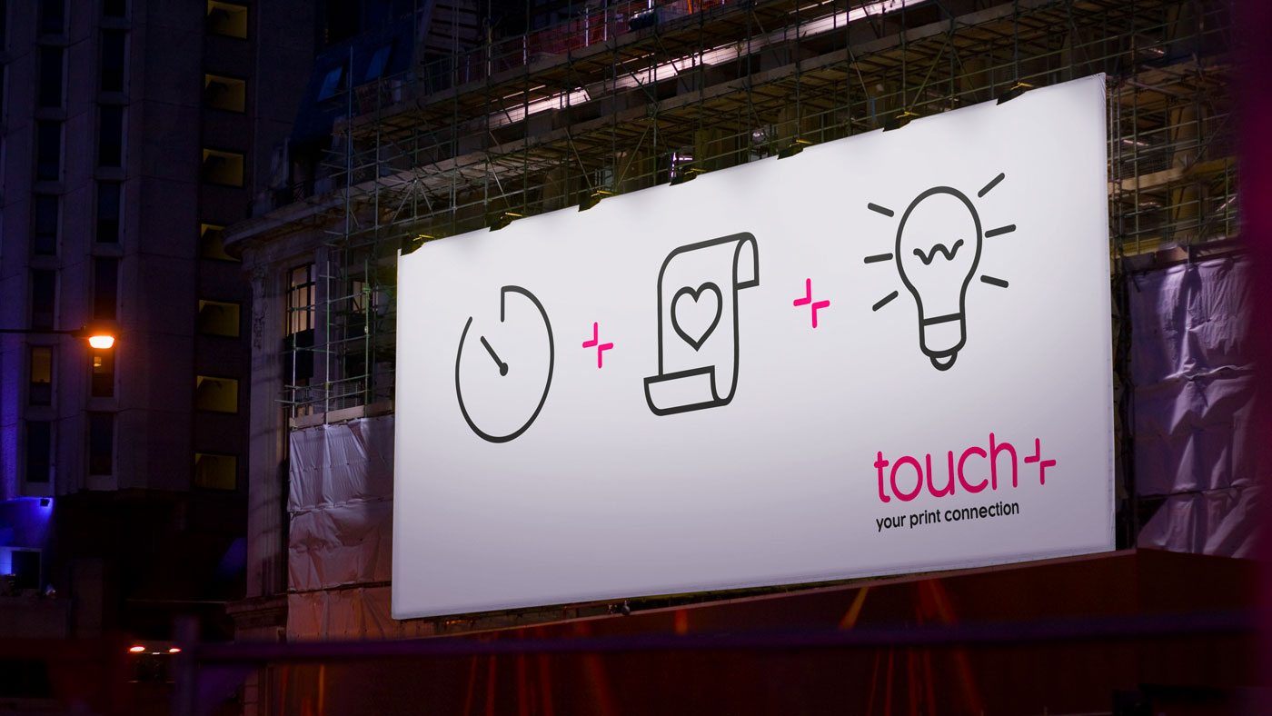 Touch brand applied to billboard design