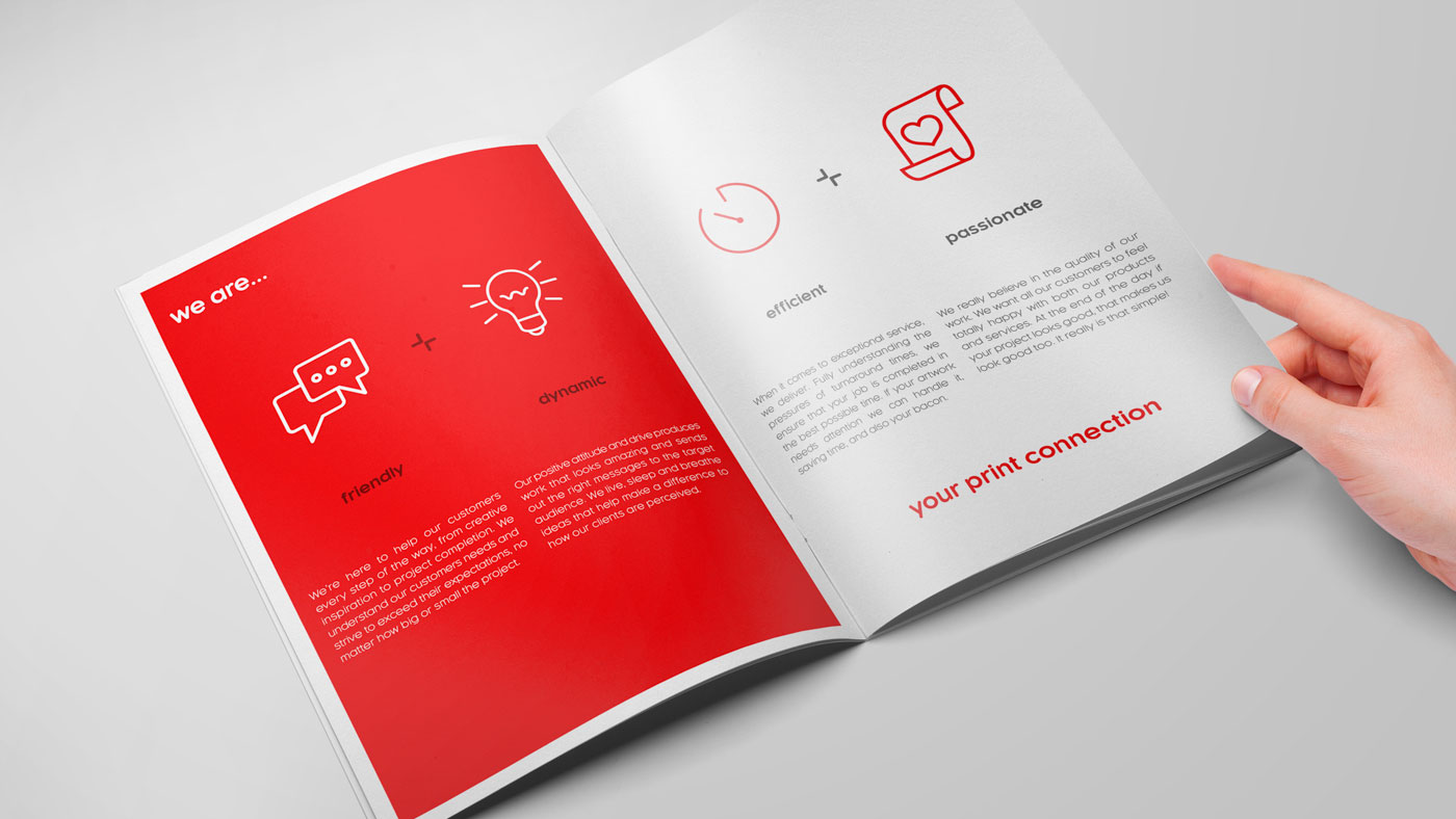 Photograph of inside spread of Touch brochure