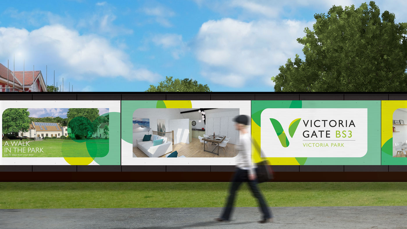 Photo showing Victoria Gate branded site hoardings