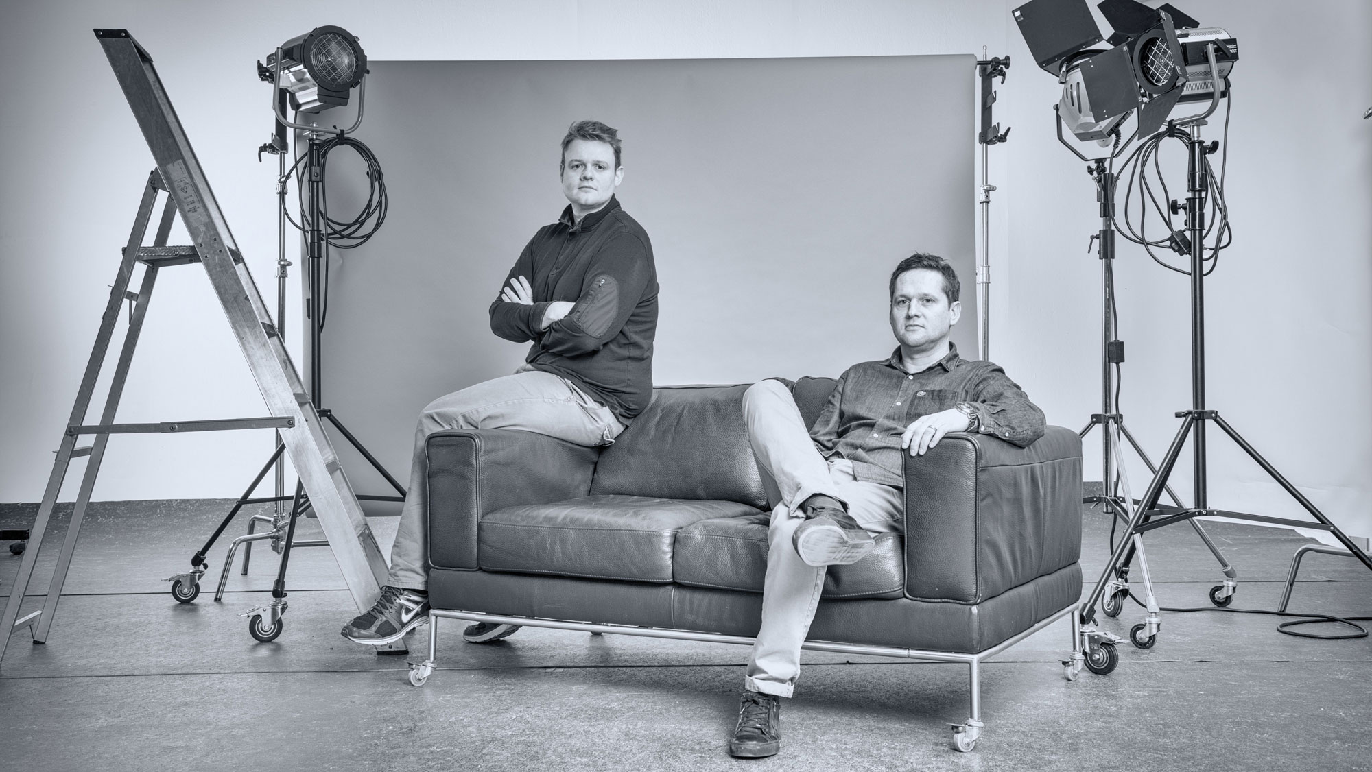 Studio photo of Tim and Hugh
