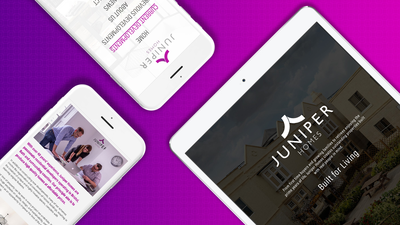 Image showing three different views of the juniper homes website on iPhone and iPad