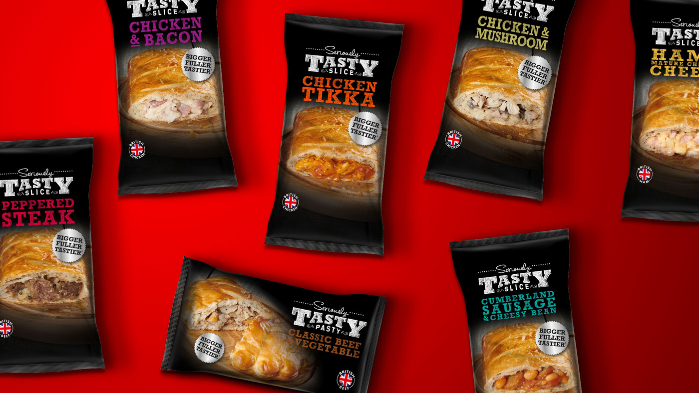 Photograph showing Seriously Tasty food packaging design range