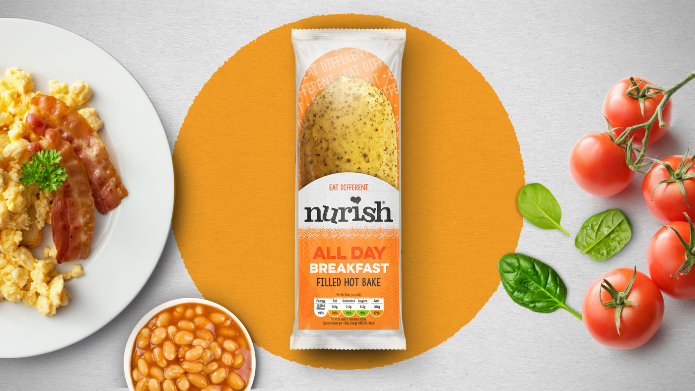Top down shot of Nurish All Day Breakfast packaging design.