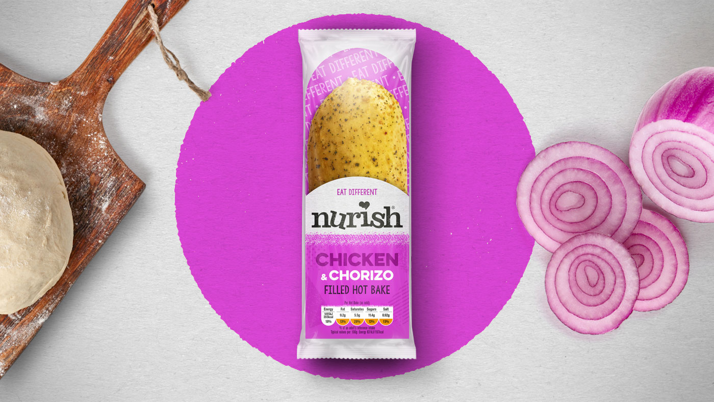 Top down shot of Nurish Chicken and Chorizo packaging design.