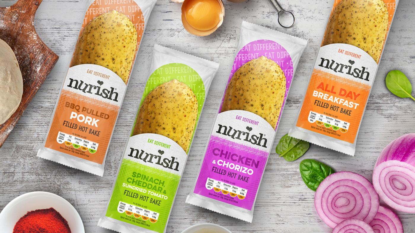 Photograph showing Nurish food packaging design.