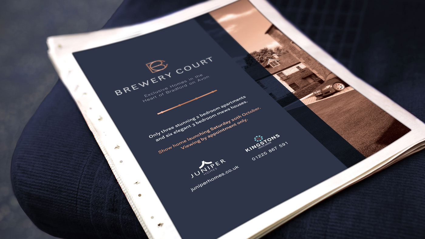 Print-based advertising example for Brewery Court property development